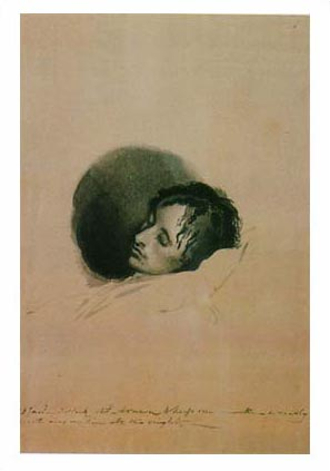 Keats on his deathbed, Joseph Severn, 1821