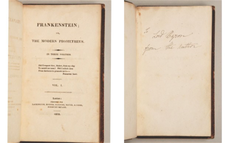 The signed copy of Mary Shelley. Frankenstein; or, The Modern Prometheus which went on sale for £350,000. Photo: Peter Harrington
