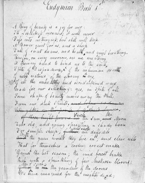 Keats's verse sentences in 'Endymion' - Wordsworth Trust